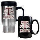 NCAA Stainless Travel Mug And Ceramic Mug Set - Texas A&M