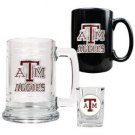 NCAA 15oz Tankard, 15oz Ceramic Mug & 2oz Shot Glass Set - Texas A&M