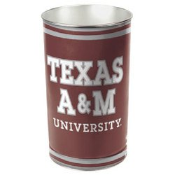 "NCAA Tapered Wastebasket - 15"""" Height - Texas A&M"