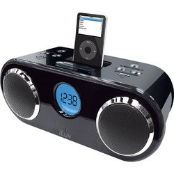 Stereo iPod® Dock With Dual Alarm Clock System - Black - iLuv