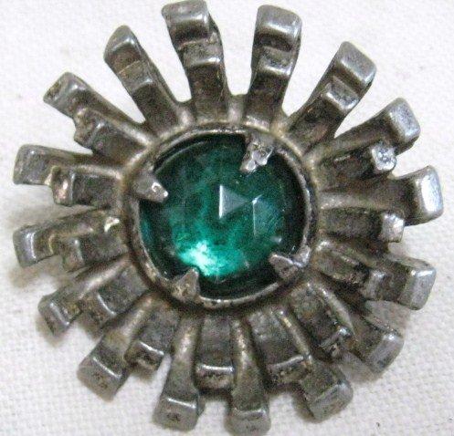 Big Gay Nineties Blue Rhinestone Vintage Sewing Button