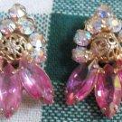 Vintage, Pink Crystal, Aurora Borealis, Clip On Earings