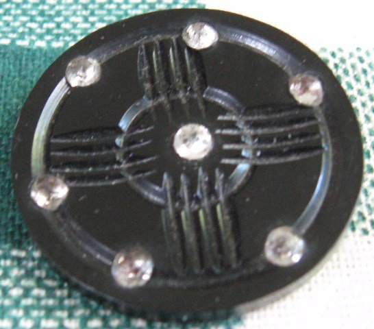 Big Carved Bakelite Rhinestone Button!