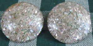 Big Confetti Celluloid Composition Button Clip Earings!