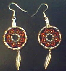 native american dream catcher earrings beaded feather silver