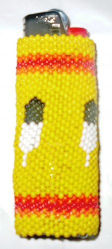 Yellow Beaded Feather Lighter Case