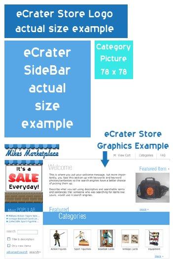 eCrater Entire Store Custom Design including Logo, Sidebar & Category Graphics