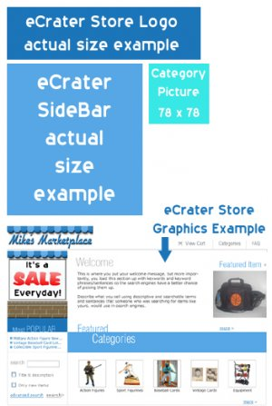 eCrater Entire Store Custom Design including Logo, Sidebar & Category Graphics