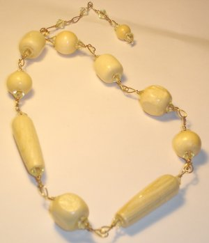 Wood beads necklace - Ivory