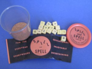 SPILL AND SPELL dice word game early 1955 Phillips