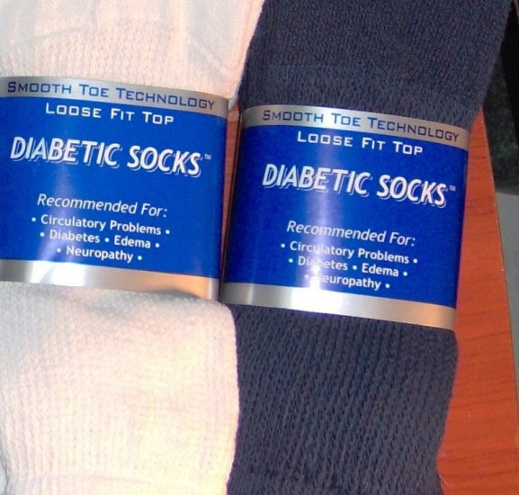 12 pairs, Diabetic Socks MEN'S(10-13) Navy Blue & White -  Wear with Jeans! Crew Style.