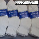 Mens Diabetic Sock Size 13-15 Color White Quarter Length  1 Dozen Pairs