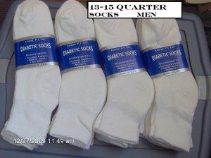 Mens Diabetic Sock Size 13-15 Color White Quarter Length  1 Dozen Pairs