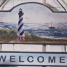 Wooden LightHouse Welcome Sign