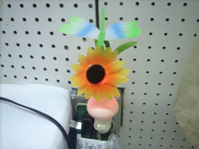 Fiber Optic Dragonfly  With Sun Flower Night Light