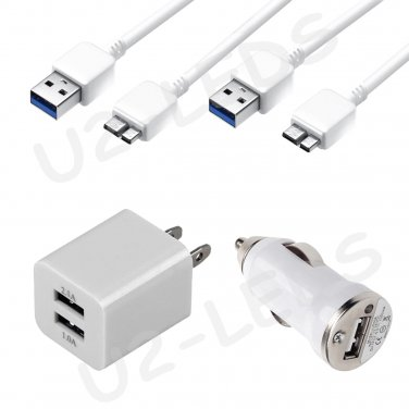 Dual USB Home AC Wall + Car Charger + 2x Data Sync Cable Samsung Note 3 Galaxy S5