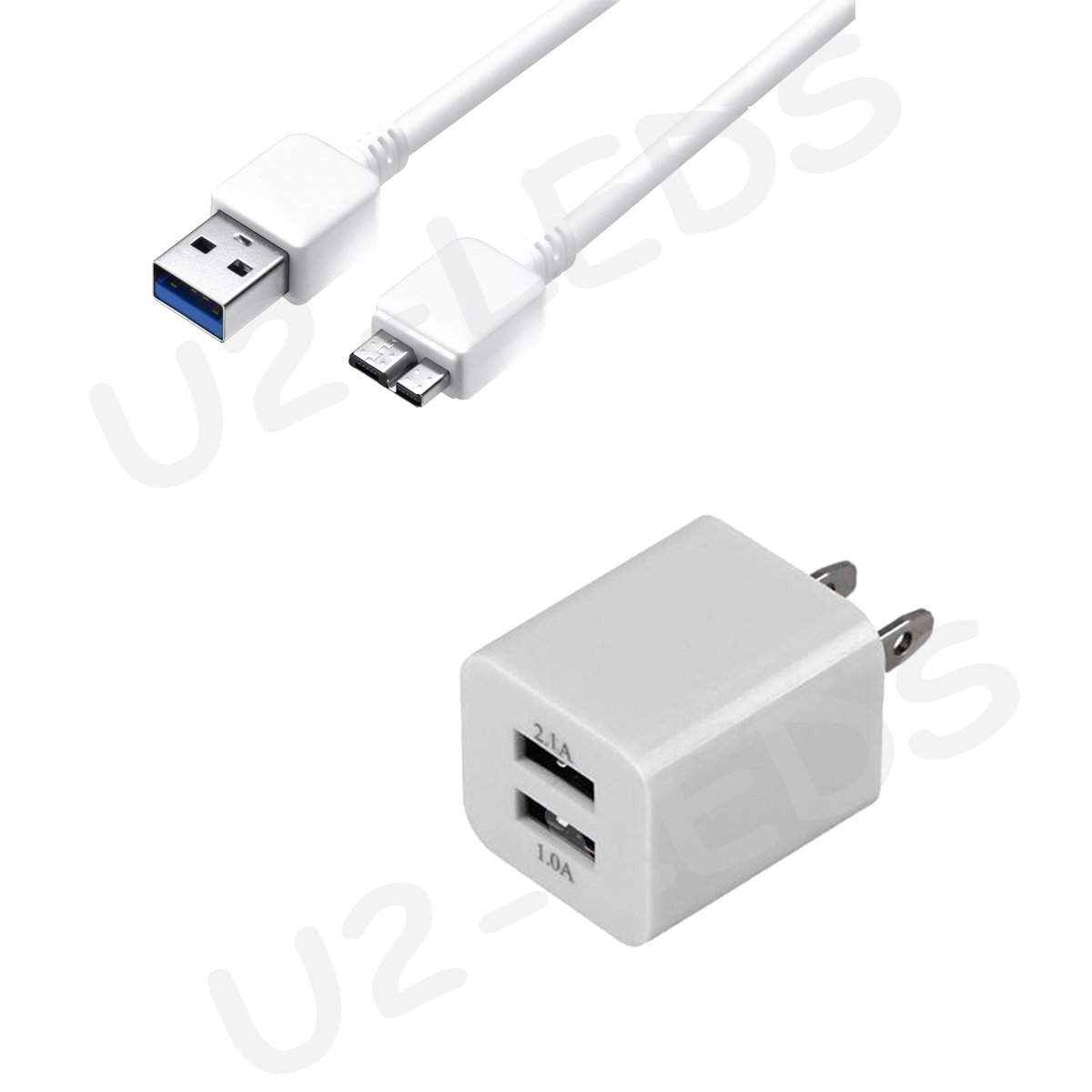 Dual USB Wall AC Home Charger + USB 3.0 Data Sync Cable for Samsung Note 3 Galaxy S5 N9000