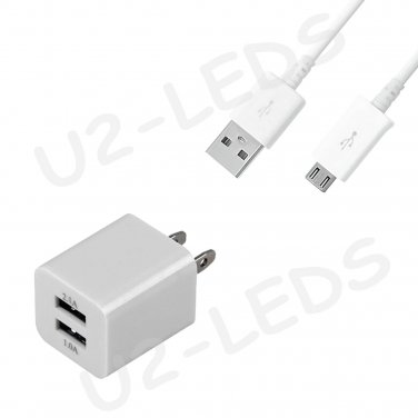 Dual Home AC Wall Charger +Micro-USB Data Sync Cable Samsung Note 2 Galaxy S4 S3