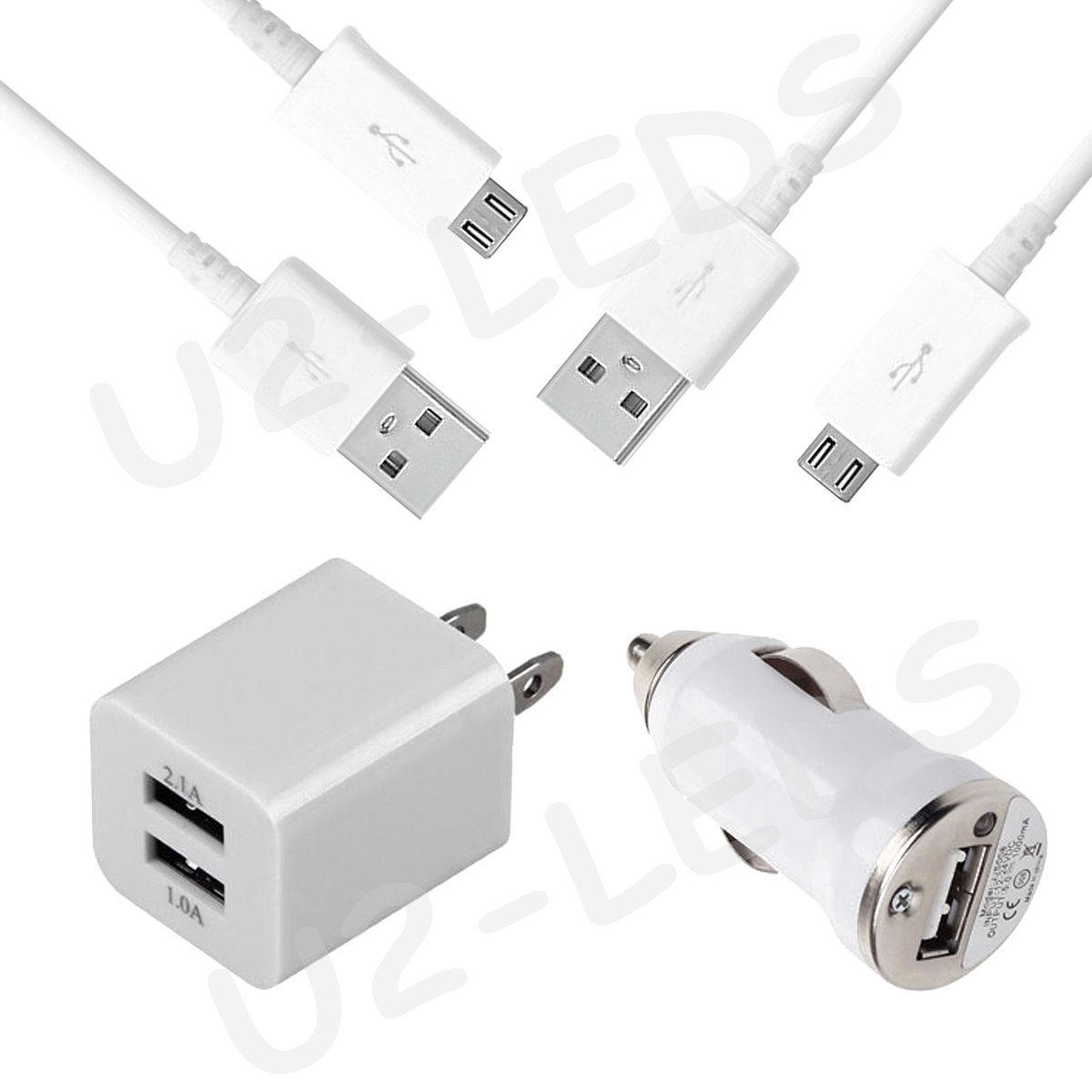 Dual Wall AC Home + Car Charger + 2 Micro-USB Data Sync Cable Samsung Note 2 Galaxy S4 S3