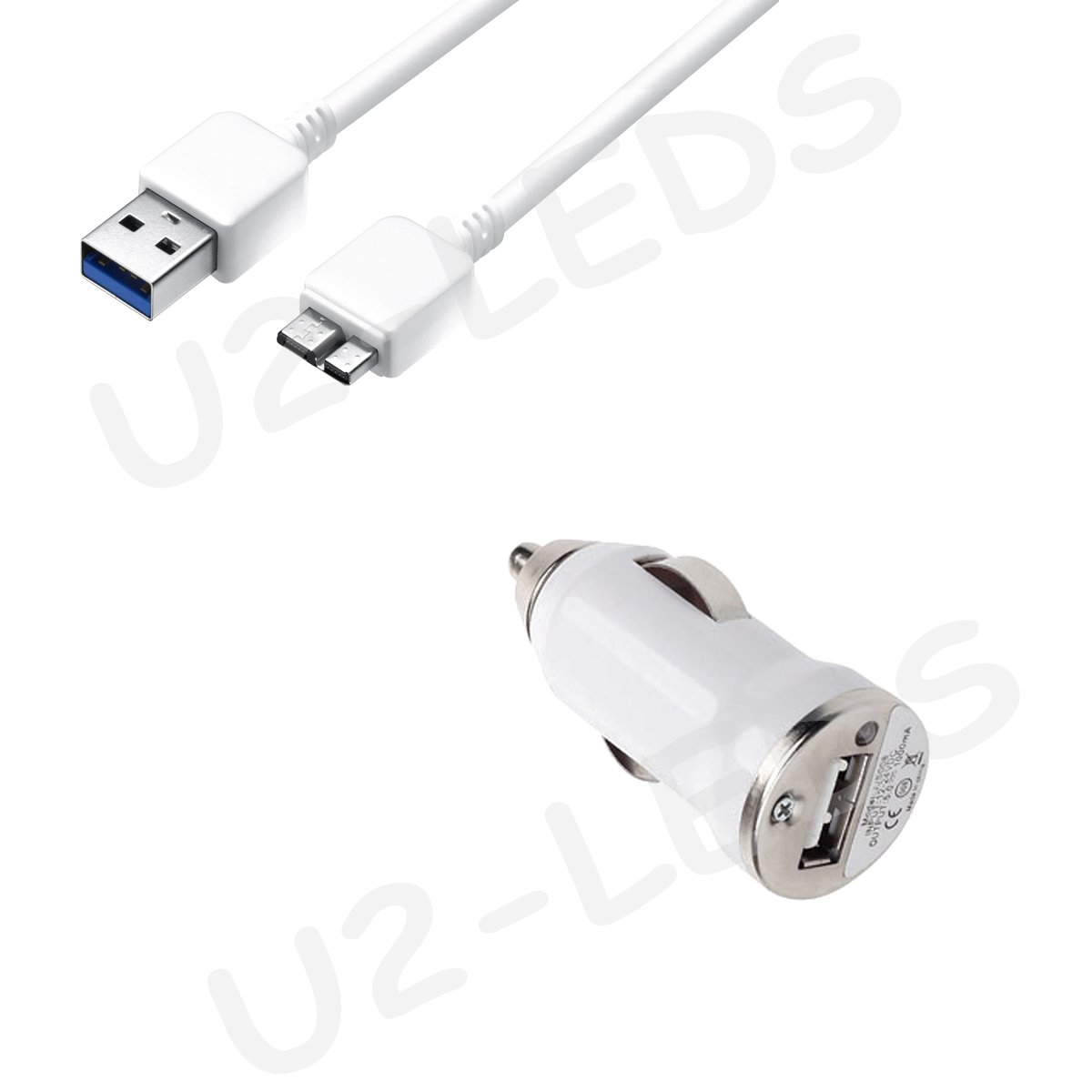 Car Charger + USB 3.0 Data Sync Cable Cord for Samsung Note 3 Galaxy S5 N9000