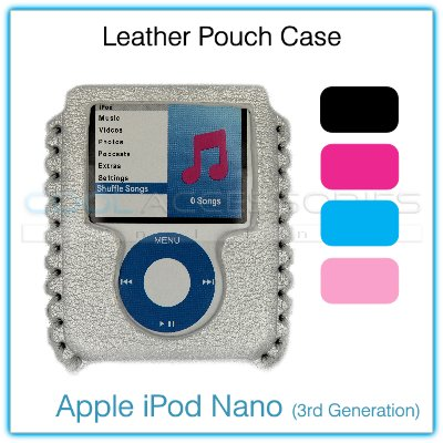Metallic Silver-White Leather Pouch Case for the Apple iPod Nano (3rd Generation)