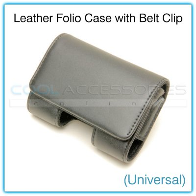 Black Leather Folio Small Universal Cell Phone/PDA/iPod/Portable Media Player Case with Belt Clip
