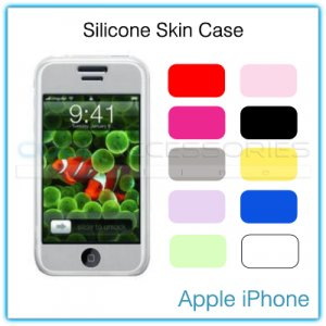 Opaque Black Silicone Skin Case for the Apple iPhone