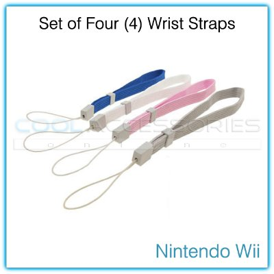Set of Four (4) Remote Controller Wrist Straps for the Nintendo Wii - Blue, White, Pink & Gray
