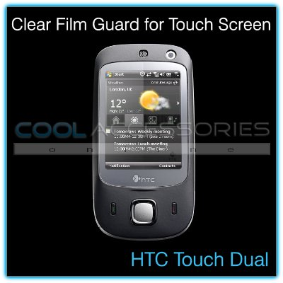 Clear Protective Film Guard for the Touch Screen of the HTC Touch Dual with a Mini Cleaning Cloth