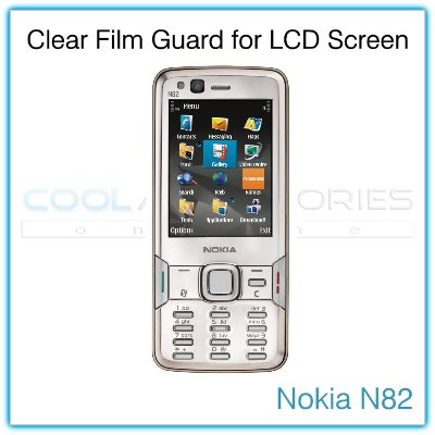 Clear Protective Film Guard for the LCD Display Screen of the Nokia N82 with a Mini Cleaning Cloth