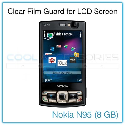 Clear Protective Film Guard for the LCD Display Screen of the Nokia N95 8GB