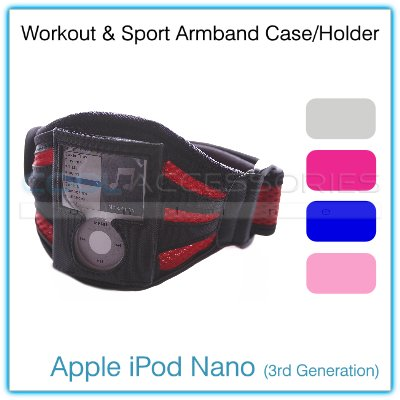 Black & Magenta Mesh Sports/Workout Armband Case & Holder for Apple iPod Nano (3rd Generation)
