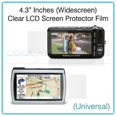 """4.3"""" Inches Widescreen Universal Clear LCD Screen Protector Film Guard for GPS Navigators, etc."""