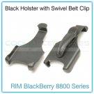 Black Holster with 180-Degrees Swivel Belt Clip for RIM BlackBerry 8800 Series
