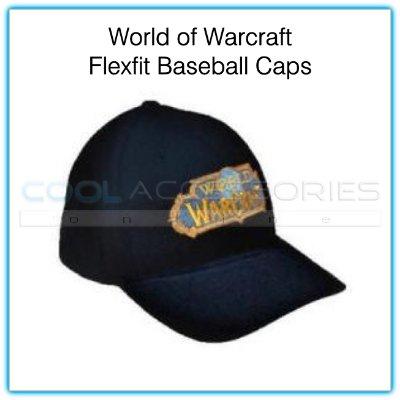 World of Warcraft Flexfit Large/XL Black Baseball Cap with Embroidered Gold & Blue Logo