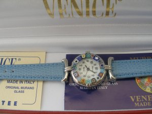 Murano Watch Millefiori Beads and Lt. Blue Band Made in Italy
