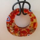 Round Millefiori Pendant and cord Made in Italy