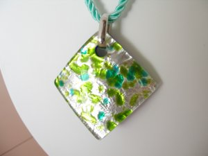 Sterling silver  Murano Glass pendant Made in Italy Lampwork