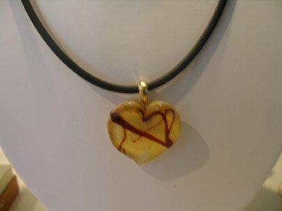 Cream Heart of Murano Glass with cord