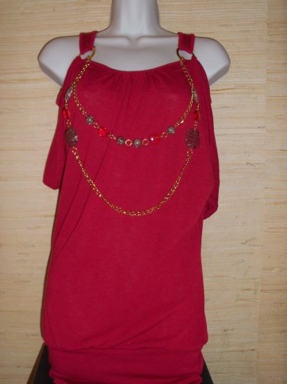 Red Dress or Top Size Small Gently Used Removable Jewelry