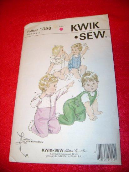 Vintage KWIK SEW Baby Jumpsuit Childs Pattern Size S M L XL