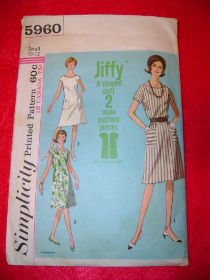Vintage Simplicity Misses Womens 1 Piece Jiffy Dress Pattern Size 10 12