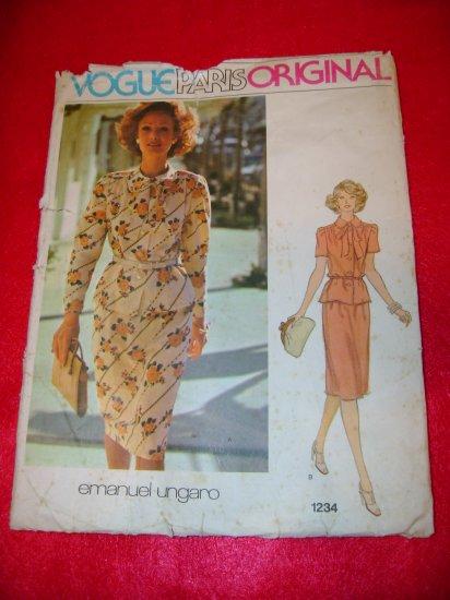 Vogue Paris Original Emanuel Ungaro Top and Skirt Dress Pattern Sz 14