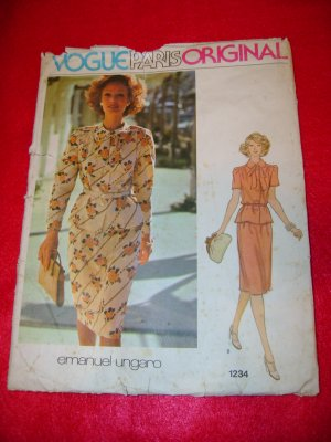 Vogue Paris Original Emanuel Ungaro Top and Skirt Dress Pattern Sz 14