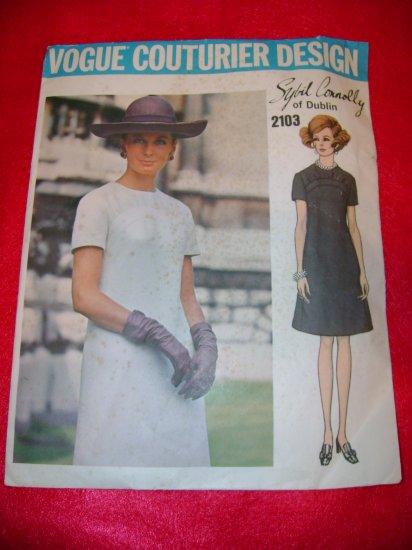 Vogue Couturier Design Sybil Connolly Misses One Piece Dress Pattern Size 16