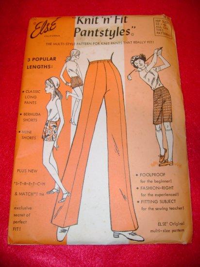 Vintage Else Knit N Fit Pantstyles Pants Dress Pattern 1971