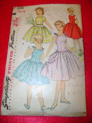 Vintage Simplicity Girls One Piece Dress Sun Dress Jumper Pattern Size 10