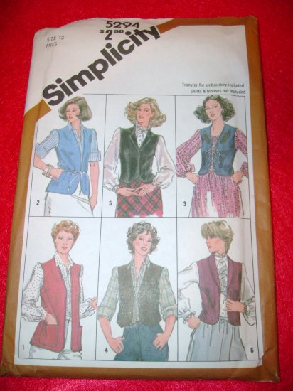 Simplicity Misses Set Lined Unlined Vests w Transfer Pattern Size 12