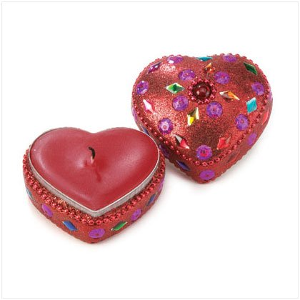 Red Beaded Heart Candle