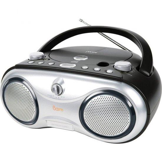 jWIN Portable AM/FM/CD Boombox Black JX-CD423BLK